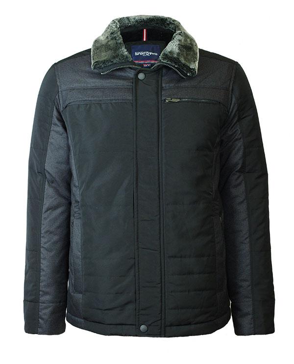 Мужская зимняя куртка SANTORYO 8175 черного цвета в фирменном ... b2e9726eee47a